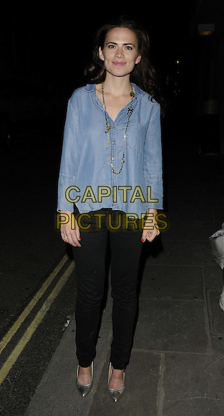 Hayley Atwell<br /> departed after the evening performance of &quot;The Pride&quot;, Trafalgar Studios, Whitehall, London, England, UK, 10th August 2013.<br /> full length blue top shirt black trousers jeans silver shoes gold necklace denim <br /> CAP/CAN<br /> &copy;Can Nguyen/Capital Pictures
