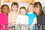 NEW OWNER: Clare Gurney the new owner of Lullaby's Creche, Caherslee which will  have an open day on Saturday April 25th with staff and kids on Friday l-r: Ola Babatunde, Ethon Asha McCord, Rachel Banks, Mairead Guerin and Clare Gurney..