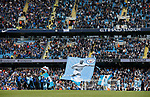 Manchester City fans unveil a banner to captain Vincent Kompany of Manchester City during the English Premier League match at the Etihad Stadium, Manchester. Picture date: May 13th 2017. Pic credit should read: Simon Bellis/Sportimage