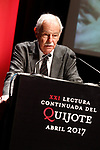 Spanish writer Eduardo Mendoza during the 21st continuous reading of El Quijote. April 21,2017. (ALTERPHOTOS/Acero)