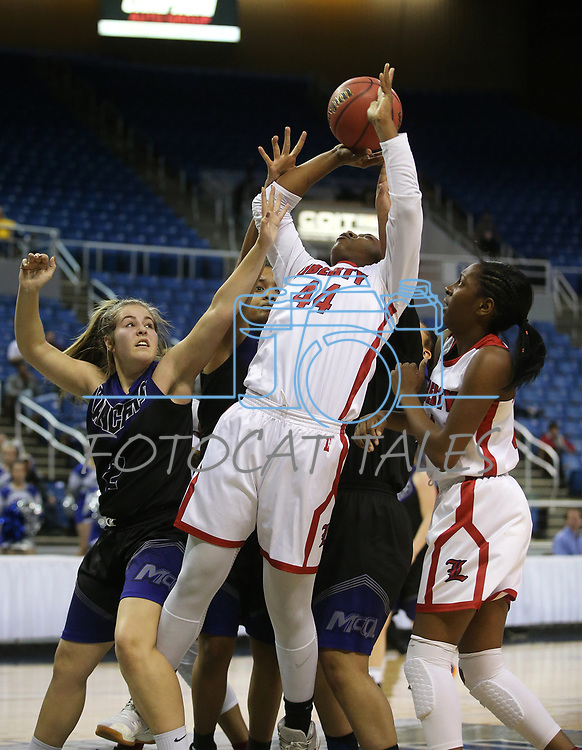 Liberty's Dre'una Edwards shoots against McQueen during the NIAA state basketball tournament in Reno, Nev., on Thursday, Feb. 22, 2018. Liberty defeated McQueen 71-33. Cathleen Allison/Las Vegas Review-Journal
