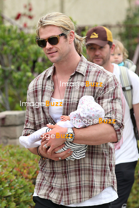 Elsa Pataky, husband Chris Hemsworth and daughter India Rose ( 2 1/2 months old ) walking in Santa Monica, California, after  enjoying a lunch at Kaffe K on Main Street. Los Angeles, July 21, 2012..