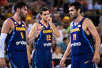 Spain's basketball player Rudy Fernandez, Alberto Abalde and Fernando San Emeterio during the  match of the preparation for the Rio Olympic Game at Madrid Arena. July 23, 2016. (ALTERPHOTOS/BorjaB.Hojas) /NORTEPHOTO.COM