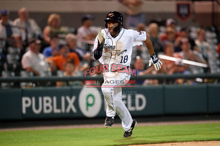 Lakeland Flying Tigers Derek Hill (18) scores a run during a game against the Tampa Tarpons on April 5, 2018 at Publix Field at Joker Marchant Stadium in Lakeland, Florida.  Tampa defeated Lakeland 4-2.  (Mike Janes/Four Seam Images)