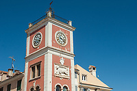 The clock tower in the town of Rovinj, Istria County, Croatia