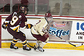 Jenna McParland (UMD - 19), Dru Burns (BC - 7) - The visiting University of Minnesota Duluth Bulldogs defeated the Boston College Eagles 3-2 on Thursday, October 25, 2012, at Kelley Rink in Conte Forum in Chestnut Hill, Massachusetts.