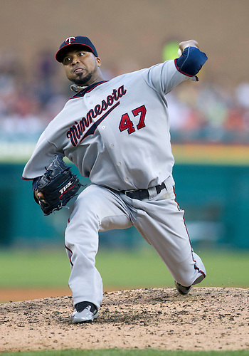 August 15, 2011:  Minnesota Twins starting pitcher Francisco Liriano (#47) delivers pitch during MLB game action between the Minnesota Twins and the Detroit Tigers at Comerica Park in Detroit, Michigan.  The Twins defeated the Tigers 9-6.
