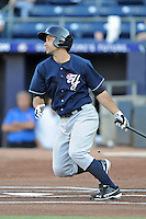 Empire State Yankees left fielder Kevin Russo #7 swings at a pitch during a game against the Durham Bulls at Durham Bulls Athletic Park on June 8, 2012 in Durham, North Carolina . The Yankees defeated the Bulls 3-1. (Tony Farlow/Four Seam Images).
