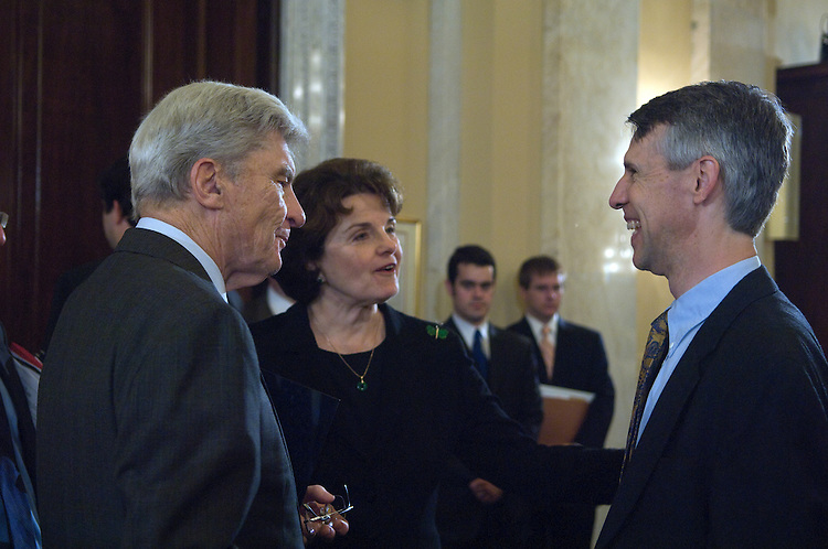 John Warner, Dianne Feinstein and David Mason talk before the start of the full committee hearing on the nominations of Robert Lenhard; David Mason; Hans von Spakovsky; and Steven Walter, each to be a commissioner of the Federal Election Commission..