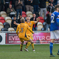 Rhys Healey of Newport County celebrates scoring his side's second goal with Dan Butler during the Sky Bet League 2 match between Newport County and Carlisle United at Rodney Parade, Newport, Wales on 12 November 2016. Photo by Mark  Hawkins.