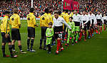 Players pass each other without shaking hands due to the Corona Virus outbreak in the UK during the Premier League match at Bramall Lane, Sheffield. Picture date: 7th March 2020. Picture credit should read: Simon Bellis/Sportimage