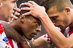 Nederland, Eindhoven, 23 september  2012.Seizoen 2012/2013.Eredivisie.PSV-Feyenoord.Georgino Wijnaldum van PSV juicht en wordt gefeliciteerd na het scoren van de 2-0