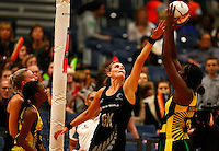 17.1.2014 New Zealand's Leana De Bruin competes for ball with Jamaica's Jhaniele Fowler during their netball test match in London, England. Mandatory Photo Credit (Pic: Tim Hales). ©Michael Bradley Photography.