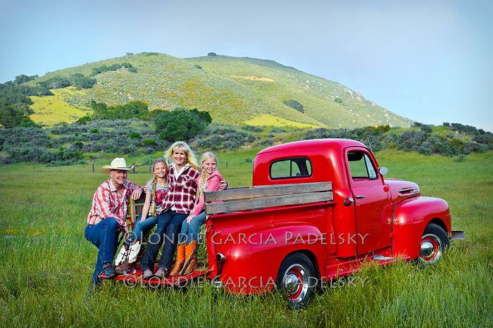 Family portrait on the 1949 Red Ford Truck, San Luis Obispo, California (Madonna family)