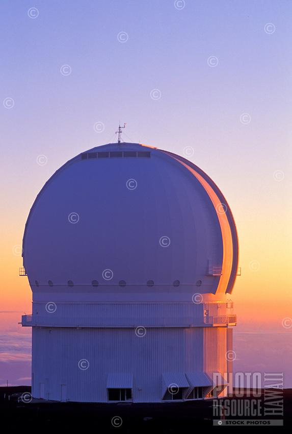 Canadian - France - Hawaii observatory at sunset on Mauna Kea, Big Island of Hawaii