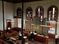 Judge Prior presiding in Hancock County Court. The building, built in 1881, was burned to the ground in 2014.