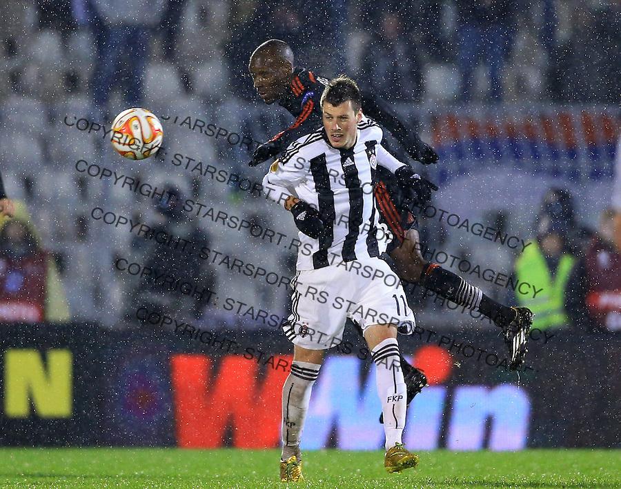 Fudbal Football Soocer<br /> UEFA Europe League <br /> Partizan v Besiktas<br /> Nikola Ninkovic (R) and Atiba Hutchinson<br /> Beograd, 23.09.2014.<br /> foto: Srdjan Stevanovic/Starsportphoto&copy;