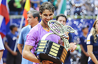 SAO PAULO, SP, 17 FEVEREIRO 2013 - BRASIL OPEN TENIS -  O tenista espanhol Rafael Nadal comemora a vitória depois da partida contra o argentino David Nalbandian, na final masculina do Brasil Open 2013, no Ginásio do Ibirapuera, zona sul de São Paulo, neste domingo (17).(FOTO: VANESSA CARVALHO / BRAZIL PHOTO PRESS)...