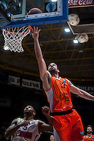 VALENCIA, SPAIN - NOVEMBER 3:  Rafa Martinez, Phillip Goss during EUROCUP match between Valencia Basket Club and CAI Zaragozaat Fonteta Stadium on November 3, 2015 in Valencia, Spain