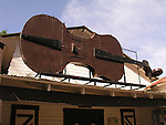 The giant Fiddle over the entrance to the community hall in Fiddletown, Calif.