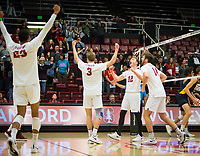 STANFORD, CA - January 17, 2019: Jaylen Jasper, Paul Bischoff, Jordan Ewert, Kyler Presho at Maples Pavilion. The Stanford Cardinal defeated UC Irvine 27-25, 17-25, 25-22, and 27-25.