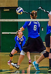1 November 2015: Yeshiva University Maccabee Outside Hitter, Setter, and team co-Captain Shana Wolfstein, a Senior from Burlington, VT, prepares to dig during game action against the Old Westbury Panthers at SUNY Old Westbury in Old Westbury, NY. The Panthers edged out the Maccabees 3-2 in NCAA women's volleyball, Skyline Conference play. Mandatory Credit: Ed Wolfstein Photo *** RAW (NEF) Image File Available ***