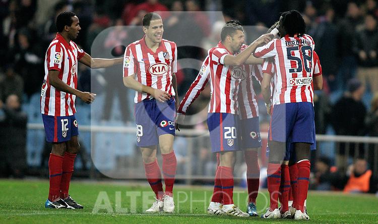 Atletico de Madrid's Paulo Assuncao, Alvaro Dominguez, Simao Sabrossa and Ibrahim celebrate during La Liga match. January 02, 2009. (ALTERPHOTOS/Alvaro Hernandez).