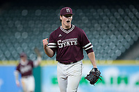 Mississippi State Bulldogs relief pitcher Cole Gordon (24) reacts after closing out the win over the Louisiana-Lafayette Ragin' Cajuns in game three of the 2018 Shriners Hospitals for Children College Classic at Minute Maid Park on March 2, 2018 in Houston, Texas.  The Bulldogs defeated the Ragin' Cajuns 3-1.   (Brian Westerholt/Four Seam Images)