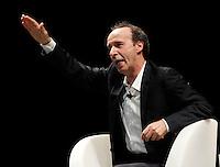 Iincontro tra Scalfari e Benigni al Teatro San Carlo  <br /> nella foto Roberto Benigni