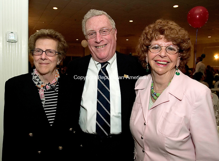 WATERBURY, CT- 21 MAY 2008 --052108JS03-Family members of the late U.S. Army Pvt. Harry Liebeskind, Lois Levin, Donald Liebeskind and Anita Liebeskind, all of Southbury were on hand as Pvt. Liebeskind was honored  during the Support Our Troops Rememberance Dinner held Wednesday at the Villa Rosa in Waterbury. Pvt. Liebeskind was the recipient of the Distinguished Service Cross for his heriosm in action near Trugny, France, on July 10, 1918 during WWI. <br /> Jim Shannon / Republican-American
