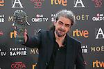 Director Fernando Leon de Aranoa poses with Best Film Goya award during 30th Goya Awards ceremony in Madrid, Spain. February 06, 2016. (ALTERPHOTOS/Victor Blanco)