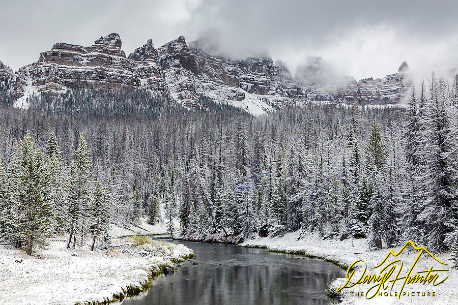 Winter comes to The Pinnacles high in the Absoraka Mountains west of Dubois Wyoming.  Brooks Lake Creek is a nice accent to this early winter landscape