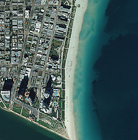 aerial map view above Miami beach Florida