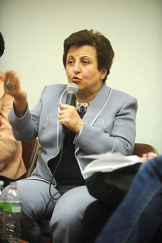 Iranian Nobel Peace Prize Laureate Shirin Ebadi discusses her memoir and human rights in Iran at The New School in New York City. April 19, 2011. Credit: Dennis Van Tine/MediaPunch