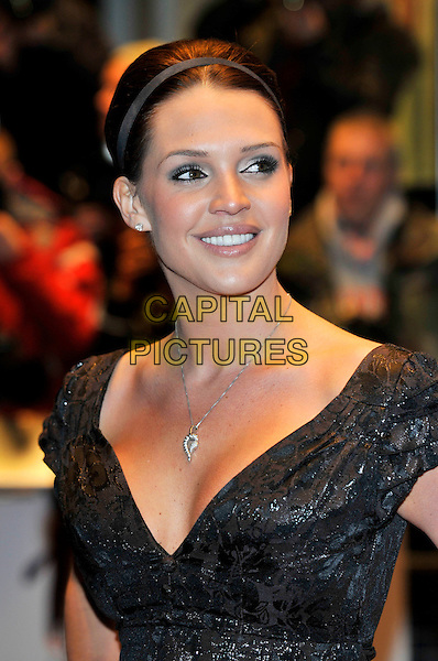 """DANIELLE LLOYD .""""17 Again"""" UK film premiere at the Odeon West End cinema, London, England, UK, .26th March 2009..portrait headshot black hair up hairband hair band silver necklace cleavage shiny patterned diamond stud earring.CAP/PL.©Phil Loftus/Capital Pictures"""
