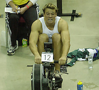 &copy; Peter Spurrier/Sports Photo +44 (0) 7973 819 551.PPP Healthcare British Indoor Rowing Championships.18th Nov. 2001.National Indoor Arena..Three quarter's through the race James Cracknell starts to feel the pain... ........... [Mandatory Credit: Peter SPURRIER/Intersport Images]<br />
