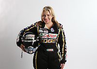 Feb. 22, 2013; Chandler, AZ, USA; NHRA top fuel dragster driver Brittany Force poses for some portraits during qualifying for the Arizona Nationals at Firebird International Raceway. Mandatory Credit: Mark J. Rebilas-