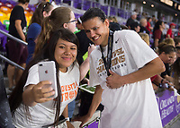 Orlando, FL - Saturday October 14, 2017: Fans, Christine Sinclair during the NWSL Championship match between the North Carolina Courage and the Portland Thorns FC at Orlando City Stadium.   The Portland Thorns won the championship, 1-0.