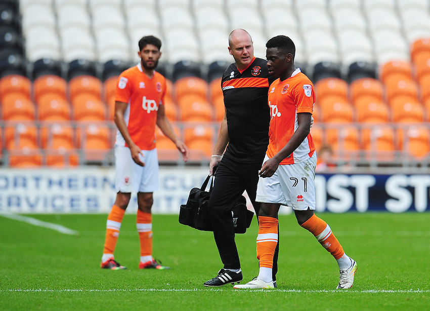 Blackpool's Bright Osayi-Samuel leaves the field due to injury<br /> <br /> Photographer Kevin Barnes/CameraSport<br /> <br /> Football - The EFL Sky Bet League Two - Blackpool v Exeter City - Saturday 6th August 2016 - Bloomfield Road - Blackpool<br /> <br /> World Copyright © 2016 CameraSport. All rights reserved. 43 Linden Ave. Countesthorpe. Leicester. England. LE8 5PG - Tel: +44 (0) 116 277 4147 - admin@camerasport.com - www.camerasport.com