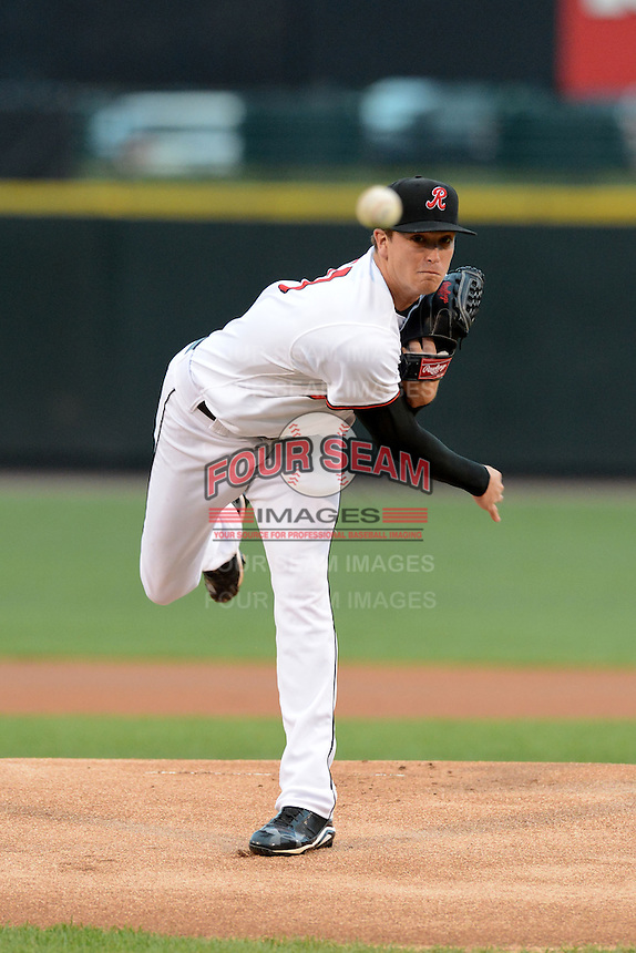 Rochester Red Wings pitcher Kyle Gibson (50) during a game against the Buffalo Bisons on August 30, 2013 at Frontier Field in Rochester, New York.  Buffalo defeated Rochester 6-3.  (Mike Janes/Four Seam Images)