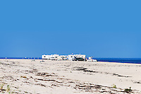 RV mobile homes set up camp on Race Point beach, Cape Cod National Seashore, Massachusetts, , USA