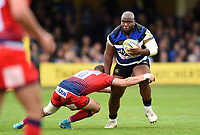 Beno Obano of Bath Rugby takes on the Worcester Warriors defence. Aviva Premiership match, between Bath Rugby and Worcester Warriors on October 7, 2017 at the Recreation Ground in Bath, England. Photo by: Patrick Khachfe / Onside Images