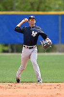 New York Yankees Tyler Wade (27) during practice before a minor league spring training game against the Toronto Blue Jays on March 24, 2015 at the Englebert Complex in Dunedin, Florida.  (Mike Janes/Four Seam Images)