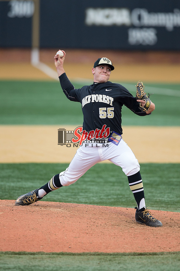 Wake Forest Demon Deacons relief pitcher Andrew Culp (55) in action against the Towson Tigers at Wake Forest Baseball Park on March 1, 2015 in Winston-Salem, North Carolina.  The Demon Deacons defeated the Tigers 15-8.  (Brian Westerholt/Sports On Film)