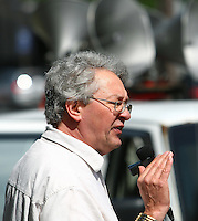 FRAPRU coordinator Francois Saillant takes part in an anti-poverty protest in front of the Congress Center in Quebec city June 15, 2009. The FRAPRU, FRont d'Action Populaire en Reamenagement Urbain, was created in 1978 to fight for poor people and the cration of social housing.