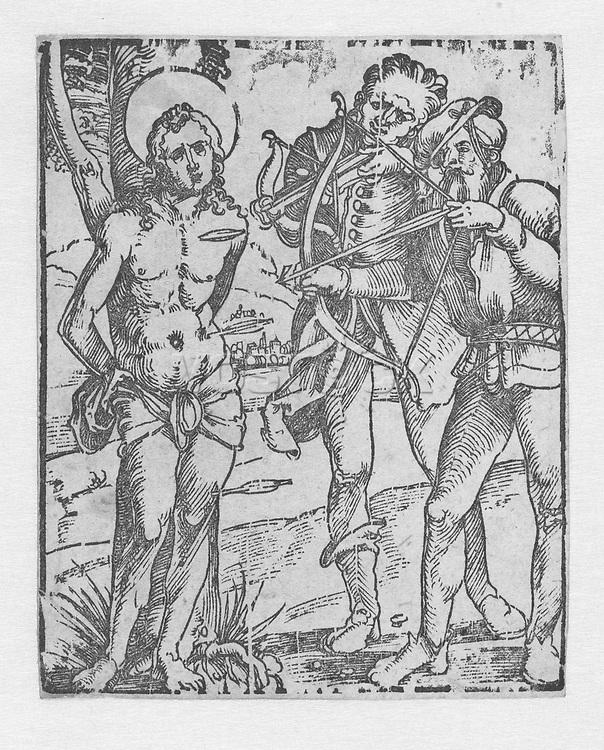 Sebastian being shot with arrows by executioners, Albrecht Dürer, 1505 - 1509
