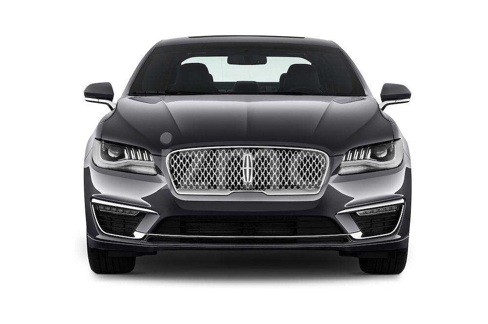 Car photography straight front view of a 2017 Lincoln MKZ Reserve 4 Door Sedan Front View