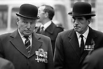 """Andrew Fountaine ( left) and colleague 1976. National Front extreme right wing political party UK march on Remembrance Day through the centre of London to The Cenotaph   war memorial on Whitehall 1970s UK.<br /> <br /> Can  anyone give me a name for the man on the left a colleague of Andrew Fountaine who is on the right. Many thanks. Please make contact.<br /> <br /> Man on left wears a """"Distinguished Flying Cross"""" medal (L) on right a  """"Mention in Dispatches"""" medal"""