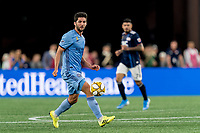 FOXBOROUGH, MA - SEPTEMBER 29: Eric Miller #5 of New York City FC looks to pass during a game between New York City FC and New England Revolution at Gillette Stadium on September 29, 2019 in Foxborough, Massachusetts.