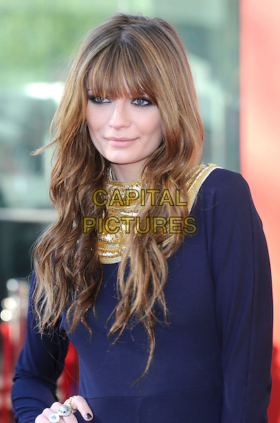 MISCHA BARTON .Arrivals at the British Academy Television Awards 2009, Royal Festival Hall, London, England..April 26th 2009.TV Baftas bafta's red half length  blue gold necklace fringe wavy hair beaded purple dress.CAP/FIN.©Steve Finn/Capital Pictures